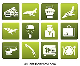Flat Airport and travel icons - vector icon set
