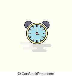 Flat Alarm clock Icon. Vector
