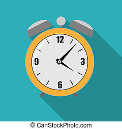 Flat Alarm Clock Icon Vector Illustration