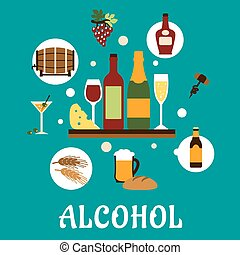 Flat alcohol drinks and snacks