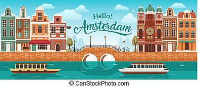 Flat Amsterdam panorama Holland, River sea canal channel...