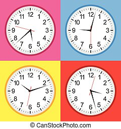 Flat analogue clock colour set