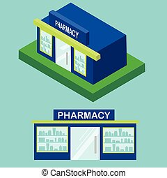 Flat and isometric pharmacy icon. City infographic element, drugstore building