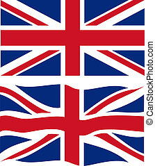 Flat and waving British Flag. Vector illustration