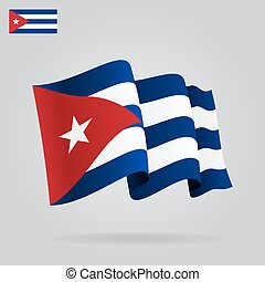Flat and waving Cuban Flag. Vector illustration