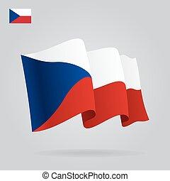 Flat and waving Czech Republic Flag. Vector
