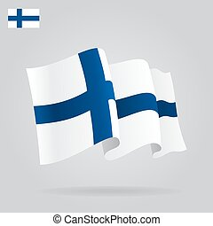 Flat and waving Finnish Flag. Vector illustration