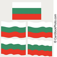 Flat and Waving Flag of Bulgaria