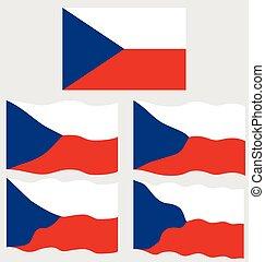 Flat and Waving Flag of Czech Republic
