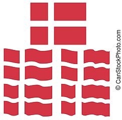 Flat and Waving Flag of Denmark