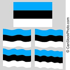 Flat and Waving Flag of Estonia