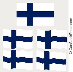 Flat and Waving Flag of Finland