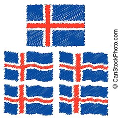 Flat and Waving Flag Of Iceland