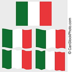 Flat and Waving Flag of Italy