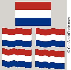 Flat and Waving Flag of Netherlands