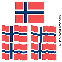 Flat and Waving Flag of Norway