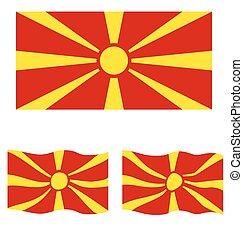 Flat and Waving Flag of Republic of Macedonia