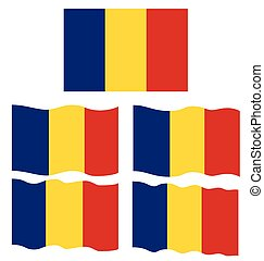 Flat and Waving Flag of Romania