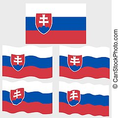 Flat and Waving Flag of Slovakia Country