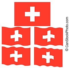 Flat and Waving Flag of Switzerland Country