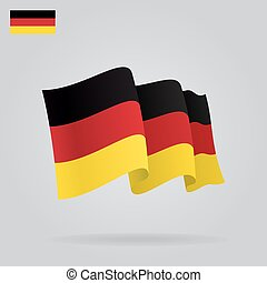 Flat and waving German Flag. Vector illustration