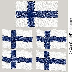 Flat and Waving Hand Draw Sketch Flag of Finland