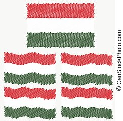 Flat and Waving Hand Draw Sketch Flag of Hungary