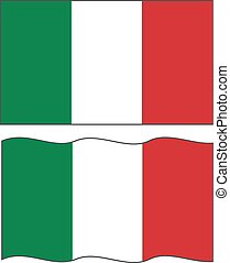 Flat and waving Italian Flag. Vector