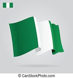 Flat and waving Nigerian Flag. Vector illustration