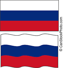 Flat and waving Russian Flag. Vector
