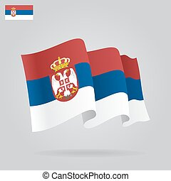 Flat and waving Serbian Flag. Vector illustration