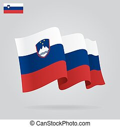 Flat and waving Slovenian Flag. Vector