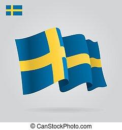 Flat and waving Swedish Flag. Vector