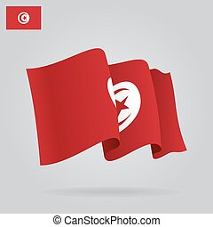 Flat and waving Tunisia Flag. Vector
