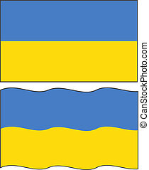 Flat and waving Ukrainian Flag. Vector