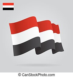 Flat and waving Yemen Flag. Vector