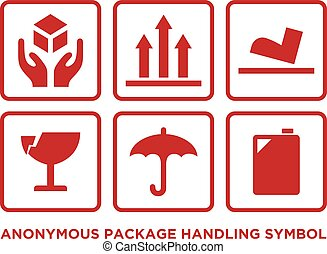 Flat anonymous package handling symbol with red color