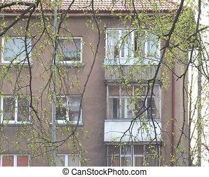 flat apartment house tree