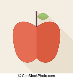 Flat Apple Fruit Illustration with long Shadow
