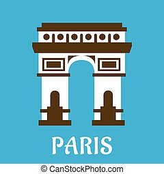 Flat Arch of Triumph icon - Arc de Triomphe travel landmark...