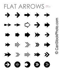 Flat arrow icons set, modern design