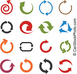 Flat arrow icons. - Vector illustration of plain arrow...