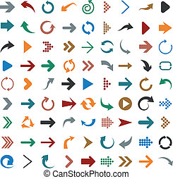 Flat arrow icons. - Vector illustration of plain arrow...