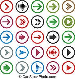Flat arrow icons. - Vector illustration of plain round arrow...