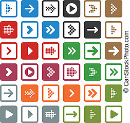 Flat arrow icons. - Vector illustration of plain square ...