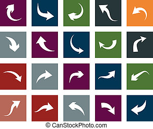 Flat arrow icons. - Vector illustration of plain square...