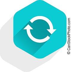 Flat arrow sign refresh icon hexagon button