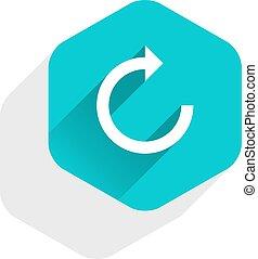 Flat arrow sign reset icon hexagon button