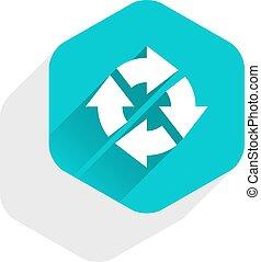Flat arrow sign rotation icon hexagon button