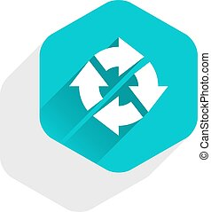 Flat arrow sign rotation icon hexagon button